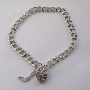 "Ladies 7"" 6mm thick Double link sterling silver charm bracelet 8g Heart Padlock"